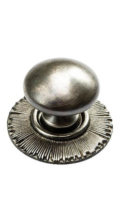 Sunburst Solid Brass Smooth Knob with Backplate - This knob can be used with cabinets or drawers and features a backplate with line details radiating from the center that set off the smooth, curved top. Made of handcrafted, lost wax solid brass.