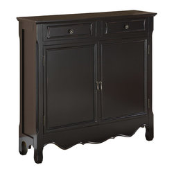 Adarn Inc - Simple Design Two Doors Drawers Black Storage Cabinet Console w/ Interior Shelf - The Black Console has a sleek and simple design. The decorative curved bottom adds an extra touch of drama to the piece while the black finish is sure to fit into any home decor. The console opens with two doors to reveal storage space with interior, fixed shelf. This is the perfect piece to add to any entryway, hall, bedroom or living area. Fully Assembled.
