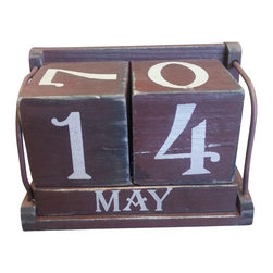 Vintage Perpetual Calendar - Red / Burgundy - *** FREE SHIPPING !!! ***