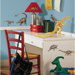 RoomMates - Dinosaurs Peel & Stick Appliques - RMK1043SCS - Shop for Wall Decorations from Hayneedle.com! The finest stickers extant of beings extinct are right here. Each of the 16 terrifying dinosaurs is drawn to real life specifications for the young paleontologist in your family. The appliques here use a special adhesive that does not leave residue on the surface making them useful in different positions and on different surfaces for years. Please notice also the absence of cavemen in this collection. That's how realistic we want this to be.These stickers will work on just about any surface but take care with wallpaper or some delicate surfaces. If in doubt test in an inconspicuous place prior to applying all the stickers. Also wait 10 to 15 days after painting before using stickers. Though the paint feels dry it needs adequate time to cure. As with any adhesive product these will work much better on clean surfaces free of dust and the like. Specifically they will work well on surfaces including but not limited to walls mirrors your fridge laptop covers tile glass lockers furniture and automotive surfaces.Please note this product does not ship to Pennsylvania.