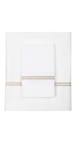 """Bliss Living Home - Chelsea Oyster Sheet Set - Nighttime or naptime, nothing invites rest and rejuvenation like pristine white cotton sateen sheets. Drift off counting the double chain of embroidered dots that run along the width of the flat sheet and cases... Sweet dreams! Also available in red. (BHL) includes fitted sheet, flat sheet and pillowcase(s) 300 thread count 18"""" deep fitted, elastic all around machine wash imported Select your size: Queen or King"""