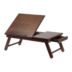 Winsome Wood - Alden Lap Desk, Flip Top with Drawer and Foldable Legs - Our Alden Lap Top Desk has flip top, pull out drawer, that is made of solid wood in antique walnut finish. Great for working in bed or lounging in a sofa or pool.