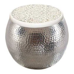 Aluminum Pouf Inlay Stool - I love the mixture of metal and inlay in this magical pouf.