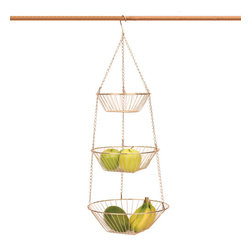 RSVP Copper Three-tier Hanging Basket - Hanging baskets are super versatile and can be used almost anywhere. I would make this copper beauty into a hanging herb basket and keep it right next to the grill.