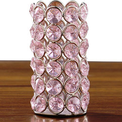 Horizon - Pink Crystal Beaded Tealight Holder - Add a beautiful glow and sparkle to your dining table, wedding reception, or event with these crystal tea light holders. This tea light holder features a lovely pink color with a silvertone accents.