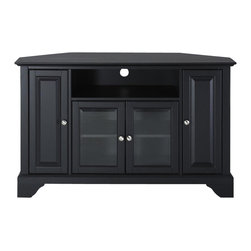 Crosley Furniture - LaFayette 48 in. Wood Corner TV Stand w Brack - LaFayette Collection. Black finish. 3 Adjustable shelves. 4 Beautiful raised panel doors. Accommodates most 52 in. TVs. Solid hardwood and veneer construction. Hand rubbed multi-step finish. Tempered beveled glass doors. Wire management. Adjustable levelers in legs. Hardware design:. Brushed Nickel hardware for Black finish. Antique Brass hardware for Classic Cherry finish and Vintage Mahogany finish. Assembly required. 1-Year manufacturer's warranty. 47.75 in. W x 18 in. D x 30 in. H (98 lbs.)