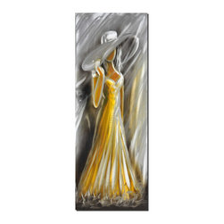 Pure Art - High Tea Figurative Wall Art - A tall woman in a long yellow gown is the subject of this metal art. She is wearing a large hat that dips down over her featureless face, lending the artwork a sense of mystery. Wherever she is going, it appears that she is dressed for some sort of formal occasion. The tilt of her body and pleats of her dress add a flirtatious quality.Made with top grade aluminum material and handcrafted with the use of special colors, it is a very appealing piece that sticks out with its genuine glow. Easy to hang and clean.