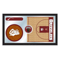 "Holland Bar Stool - Holland Bar Stool Montana Basketball Mirror - Montana Basketball Mirror belongs to College Collection by Holland Bar Stool The perfect way to show your school pride, our basketball Mirror displays your school's symbols with a style that fits any setting.  With it's simple but elegant design, colors burst through the 1/8"" thick glass and are highlighted by the mirrored accents.  Framed with a black, 1 1/4 wrapped wood frame with saw tooth hangers, this 15""(H) x 26""(W) mirror is ideal for your office, garage, or any room of the house.  Whether purchasing as a gift for a recent grad, sports superfan, or for yourself, you can take satisfaction knowing you're buying a mirror that is proudly Made in the USA by Holland Bar Stool Company, Holland, MI.   Mirror (1)"