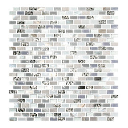 "Susan Jablon Mosaics - Silver White And Grey Metallic Glass Tile - This glass tile blend is a 3/8"" x 3/4"" mix of grey and lavender glass mosaic tile, mother of pearl shell and marble tile. This is a stunning solution to your light, grey, black or silver flecked counter top.These 3/8 x 3/4 inch tiles are a beautiful mixture of Metallic Silver Glass, white glass tile in both a glossy and frosted finish, gray glossy glass tiles, Carrera Marble, Mother of pearl Shell Tile with Lavender Glass accents. These tiles are 8mm thick. Enjoy these gorgeous blend of tiles in your kitchen, bathroom or anywhere! Bring the elegance and fine beauty of one of natures most spectacular gifts into your daily life. Our shell tile is a perfect solution for a sturdy, natural, jaw dropping effect without going over the top. Let mother nature dazzle you! It is very easy to install as it comes by the square foot on mesh and it is very easy to clean! About a decade ago, Susan Jablon re-ignited her life-long passion for mosaics and has built a customer-focused, artist-driven, business offering you the very best in glass and decorative tiles and mosaics. We are a glass tile store committed to excellence both personally and professionally. With lines of 100% SCS Qualified recycled tile, 12 colors and 6 shapes of mirror, semi precious turquoise stones from Arizona mines, to color changing dichroic glass. Stainless steel tiles in 8mm and 4mm and 12 designs within each, and anything you can dream of. Please note that the images shown are actual photographs of the tiles however, colors may vary due to the calibration of each individual monitor. Ordering samples of the tiles to verify color is strongly recommended."