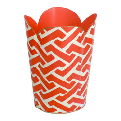 Orange Geometric Wastebasket - I resolve to upgrade my trash bin to something a bit more stylish. This one has a great graphic pattern.