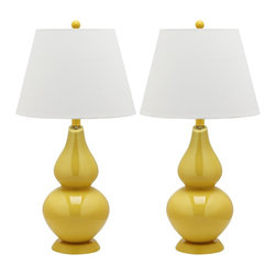 "Lamps Plus - Traditional Mabelle Yellow Glass Table Lamps Set of 2 - Add a pop of color to any space with this glass table lamp set. The double gourd lamp design is finished in a yellow color. Topped with two white lamp shades for a uniform and stylish look. Table lamp set. Set of 2. Yellow finish. Gourd glass lamp design. White cotton lamp shades. Maximum 100 watt or equivalent bulb (not included). On-off switch. Shades measure 9"" across the top 14"" across the bottom 10"" high. 26 1/2"" high.    Table lamp set.  Set of 2.  Yellow finish.  Gourd glass lamp design.  White cotton lamp shades.  Maximum 100 watt or equivalent bulb (not included).  On-off switch.  Shades measure 9"" across the top 14"" across the bottom 10"" high.  26 1/2"" high."