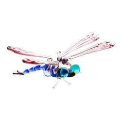 "Spirit Pieces - Handmade Fused Glass Dragonfly - Great for any Figurine Collection - This lovely handmade fused glass hummingbird is a perfect knickknack to place in an indoor garden or on a window sill.  Comes strung with a 6"" wire.  Dragonfly is 2.5"" x 2""."