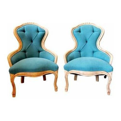 Vintage Blue Chairs - These American vintage chairs have been completely remade with dressmaker detail.