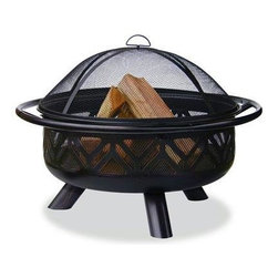 "Blue Rhino - Fire Bowl Oil Rubbed Bronze 36"" - Uniflame WAD1009SP Oil Rubbed Bronze Outdoor Firebowl with Geometric Design.  This Uniflame Slate provides 360 degrees of warmth and view. These appealing outdoor fireplaces are affordable, portable and it is so easy to use. Family and friendly gatherings will be more fun because of the right warmth it brings to your backyard, patio and pool area. Uniflame is the top of the line for the best portable outdoor fireplaces to warm up winter and chilly nights. 25"" x 36"""