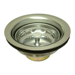 """Kingston Brass - Stainless Steel Basket Strainer - The 4-7/16"""" wide basket strainer is a kitchen sink application essentially used to prevent particle buildup of small gravel, deposits from entering into the drain and water line. The strainer features an easy top-mount installation and is made of corrosion-resistant steel, which generally prevents surface corrosion and blocks it from spreading into the metal's internal structure. The strainer also fits all 3-1/2"""" drain openings. A one-year limited warranty is provided to the consumer from defects in material and finish.; Heavy duty stainless steel construction; Designed to fit all 3-1/2"""" drain openings; Easy installation to save you time and effort; Durable and reliable for long-lasting use; 4-7/16"""" wide in diameter; 2-1/2"""" height; Material: Brass; Finish: Brushed Nickel Finish; Collection: Made-to-Match"""