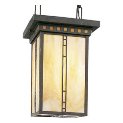 Progress Lighting - Progress Lighting P3613-46 Arts and Crafts 3-Light Foyer in Weathered Bronze - 3-light foyer with light honey art glass inspired by earthy palette and geometric shapes of Frank Lloyd Wright. PAR or R20 lamps.
