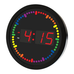 Metro Fulfillment House - Big Digital LED Clock with Rainbow Color Circling LED second indicator - Round S - Colorful second hand changes colors every 5 or 10 seconds - 6 different colors Bright and Medium Size Easy to Read Display Big Enough...Not Taking up So Much Space! Great for Office, Bar or Game Room at Home....Kids love them also Includes AC Adaptor No reset needed after loss of power