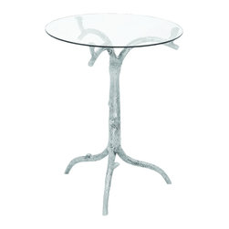 Benzara - Contemporary Aluminum Glass Table with Corrosion Resistant Surface - If you are a connoisseur of modern, then this artful and artistic Aluminum Glass Table is an excellent addition to your home interiors. The body of this table is shaped like a tree trunk with a sturdy glass top - looking graceful and being strong at the same time. Visually enchanting and beautiful, this Aluminum Glass Table can be used as a trinket to decorate your modern and contemporary setting. Featuring in depth details, the tree features intricate metallic etchings to make it appear life-like. Exuding a natural demeanor, this Aluminum Glass Table will blend in well with a modern home decor dominant with parallel lines and geometric figures. Simple yet sophisticated, this Aluminum Glass Table stirs artistic chaos and beautifies your space with its charm and alluring beauty. Crafted out of aluminum, this metallic glass table features regal styling and artistry by ace Indian artisans. It comes with a dimension of 254 in.  H x 20 in.  W x 20 in.  D.