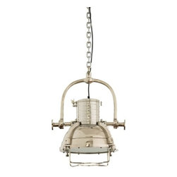 Kajol Spotlight - This unique, nickel plated hanging lamp showcases industrial design as it is constructed to resemble a spotlight.