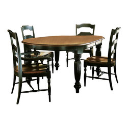 Hooker Furniture - Hooker Furniture Indigo Creek Oval Dining Table in Rub-Through Black - Hooker Furniture - Dining Tables - 33275200 - Features: