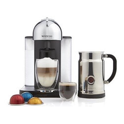 Nespresso® VertuoLine Chrome Coffee-Espresso Maker Bundle - The premiere combination maker from Nespresso brews either an 8-ounce coffee or a 1.4-ounce espresso with equal precision and performance using new centrifusion™ centrifugal heating element technology that brews gently and fully. Brewing your cup is as simple as ever with the signature capsule system, quick push-button delivery and adjustable cup holder. Exclusive VertuoLine coded capsules in two sizes are automatically recognized, telling the system exactly how much water to heat—in a mere 15 or 20 seconds—for your desired beverage. This system creates rich naturally forced crema during espresso brewing. Capsules eject automatically without leakage. Accompanying starter pack includes 12 capsules designed exclusively for this line, including 8 coffee options and 4 espresso options. The VertuoLine is joined by the Aeroccino Plus chrome frother: two whisk attachments prepare two servings of milk to transform your espresso into a cappuccino, macchiato or latte (or heat milk for cocoa and recipes). Dual steam and froth features perform to perfection at the touch of a button; nonstick interior makes for easy cleanup. Calibrated pitcher lifts off base for convenience.