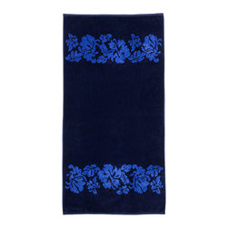 Superior - Superior Collection Luxurious Jacquard Cotton Beach Towel - Flowers - Relax and dry off in style with these velour terry cloth beach towels from Superior. This fun design features light blue beach flowers on solid navy blue.