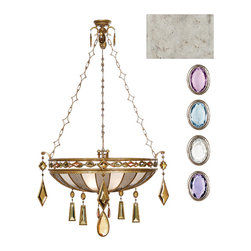 Fine Art Lamps - Encased Multi-colored Gems Pendant, 728540-1ST - A jewel-trimmed basket dangling from an intricate chain and dripping with encased crystals. Could there possibly be a more fabulous centerpiece for your ceiling?