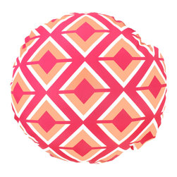 DD - Pink Argos Coral Outdoor Pillow - This adorable round Argos outdoor pillow will be the perfect addition to adding color to your back yard.