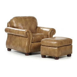 Randall Allan - Barrington Chair & Ottoman - Here's some sumptuous eye candy for your family room, den or man cave. This chair and ottoman are stuffed with plush foam and coated in dreamy caramel-colored leather. Each sits on chocolaty bun feet, sure to look sweet in your home.