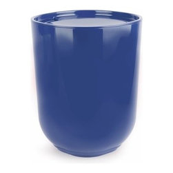 Umbra - Umbra Step Waste Can with Lid, Indigo - Our contemporary collection of Step Indigo Waste Can with Lid by Umbra, designed by Tom Chung - the worldwide leader in innovative, casual, contemporary and affordable design for the home adds a stylish splash to your bathroom. It features a step detail on the bottom of each piece which gives the illusion of levitation above the surface that it is sitting on.