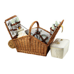 """Picnic At Ascot - Huntsman Picnic Basket for Four with Blanket, Wicker W/Gazebo - The Huntsman Picnic Basket has a traditional style.  Hand crafted using full reed willow, this generously sized basket is made to last.  Easy to pack, carry, and enjoy, it includes quality components including ceramic plates and glass wine glasses.  Includes: (4) ceramic plates, glass wine glasses, stainless flatware, cotton napkins, (1) food cooler, insulated wine pouch, hardwood cutting board, spill proof salt & pepper shakers, wood handle cheese knife, stainless waiters corkscrew, and 50"""" x 60"""" fleece blanket. Natural Willow with leather straps, closures, hinge covers."""