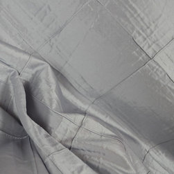 Colchester Blue Mist Diamond Polyester Drapery Fabric By The Yard - Grey-blue colored polyester faux silk drapery fabric. The pintuck design forms a raised edge that creates a diamond pattern across the fabric. Very light weight- drapes like silk fabric without the cost. Use as drapery panels, valances, a table skirt or dust ruffle. This is a versatile and beautiful drapery or curtain fabric