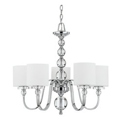 Quoizel - Quoizel Polished Chrome Mid. Chandeliers - SKU: DW5005C - Cool, sleek sophistication is written all over this design. Gleaming glass ball accents complement the opal etched glass drum shade and shiny chrome finish, bringing a soft modern sensibility to your home.