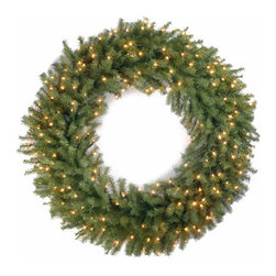 48 In. Norwood Fir Christmas Wreath with 200 Clear Lights-UL - Measures 48 inch diameter. Indoor or outdoor use. Pre-lit with 200 UL listed, pre-strung Clear lights. Tip count: 714. Light string features BULB-LOCK to keep bulbs from falling out. If one bulb burns out the others remain lit. Fire-resistant and non-allergenic. Includes spare bulbs and fuses.