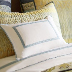 "Morgan Banded 400-Thread-Count Boudoir Pillow Cover, 12 x 16"", Twilight Blue - A frame of solid piping on luxurious 400-thread-count cotton makes the perfect home for a special monogram. 12 x 16"" Made of pure cotton. 400-thread count. Oeko-Tex certified. Yarn dyed for vibrant, lasting color. Reverses to same. Envelope closure. Insert sold separately; down blend or synthetic. Machine wash. Imported. Monogramming is available at an additional charge. Monogram is 3"" and will be centered on the pillow cover."