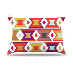 """Kess InHouse - Pellerina Design """"Aztec Weave"""" Orange Purple Pillow Case, Standard (30"""" x 20"""") - This pillowcase, is just as bunny soft as the Kess InHouse duvet. It's made of microfiber velvety fleece. This machine washable fleece pillow case is the perfect accent to any duvet. Be your Bed's Curator."""