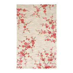Jaipur Brio Cherry Blossom Hand-Tufted Rug - A pink blossom rug is not for the fainthearted. But, admit it, it is stunning.