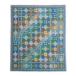 Patch Quilts - Chambray Nine Patch King Quilt - -Constructed of 100% Cotton  -Machine washable; gentle dry  -Made in India Patch Quilts - QKCH9P
