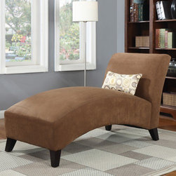 """Handy Living - Commotion Chaise Lounge - This chaise features a contemporary sleek design with clean lines, a curved seat and arched back. Enhance your home decor with this unique chaise lounge chair featuring sturdy hardwood legs in an espresso finish Features: -100% Polyester.-Covered in a durable, stain resistant 100% polyester microfiber that works well in any room environment.-Sinuous springs to ensure total comfort.-Non-mar foot glides.-Eco-friendly.-Each piece ships in one (1) box.-Includes a coordinating geometric circle decorative accent pillow.-Sturdy mixed hardwood frame construction.-Collection: Handy Living.-Hardware Finish: Brushed Nickel.-Distressed: No.-Hardware Material: Stainless Steel.-Solid Wood Construction: No.-Number of Items Included (Number of Items Included) : 2; 1 Chaise lounge, 1 Throw kidney pillow.-Non-Toxic: Yes.-Scratch Resistant (Scratch Resistant) : No.-Fire Resistant: Yes.-Mildew Resistant: No.-Fade Resistant: No.-Tear Resistant: No.-Seating Comfort: Firm.-Removable Seat Cushion: No.-Removable Back Cushion: No.-Removable Cushion Cover: No.-Reversible Cushions: No.-Welted Cushions: No.-Tufted Cushions: No.-Slipcovered: No.-Skirted: No.-Toss Pillows Included: Yes -Number of Toss Pillows Included: 1.-Toss Pillow Upholstery (Toss Pillow Upholstery) : 100% polyester.-Toss Pillow Color: Multi-colored.-Removable Toss Pillow Cover: No..-Legs Included: Yes -Leg Style: Straight.-Leg Material: Hardwood.-Removable Legs (Removable Legs) : Yes..-Nailhead Trim: No.-Seating Capacity: 1.-Weight Capacity: 350 lbs.-Swatch Available: No.-Commercial Use: No.-Recycled Content: No.-Eco-Friendly: Yes.-Product Care: Spot clean only.Specifications: -Green Guard Certified: No.-ISTA 3A Certified: Yes.-FSC Certified: No.Dimensions: -Overall Height - Top to Bottom: 32"""".-Overall Width - Side to Side: 26.5"""".-Overall Depth - Front to Back: 61"""".-Seat Height: 19.5"""".-Seat Width - Side to Side: 26.5"""".-Seat Depth - Front to Back: 61"""".-Legs: -Legs Height - Top to Bottom"""