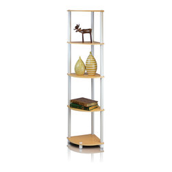 Furinno - Furinno 99811 Turn-N-Tube Corner Shelf, Beech/White - Furinno Turn-N-Tube Home Living Mini Storage and Organization Series: 5-Tiers No Tools Tube Storage Shelving Unit . (1) Unique Structure: Open display rack, shelves provide easy storage and display for decorative and home living accessories. Suitable for rooms needing vertical storage area. Designed to meet the demand of low cost but durable and efficient furniture. It is proven to be the most popular RTA furniture due to its functionality, price, and the no hassle assembly. (2) Smart Design: Easy Assembly and No tools required. A smart design that uses durable recycled PVC tubes and engineered particleboard that withstand heavy weight. Just repeat the twist, turn and stack mechanism, and the whole unit can be assembled within 10 minutes. Experience the fun of D-I-Y even with your kids . (3) The  Particleboard is manufactured in Malaysia and comply with the green rules of production. There is no foul smell, durable and the material is the most stable amongst the particleboards. The PVC tube is made from recycled plastic and is tested for its durability. A simple attitude towards lifestyle is reflected directly on the design of Furinno Furniture, creating a trend of simply nature. All the products are produced and assembled 100-percent in Malaysia with 95% - 100% recycled materials.