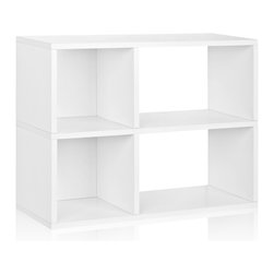 Way Basics - Way Basics 2 Shelf Chelsea Bookcase, White - A creative coupling of squares and rectangles keeps clutter under control, while a combo of open and closed backs lends extra convenience. Ideal for dorm rooms, home offices — wherever you need ready access to your stuff. Assembles quickly (just peel, stick and stow!) and is formaldehyde- and VOC-free.