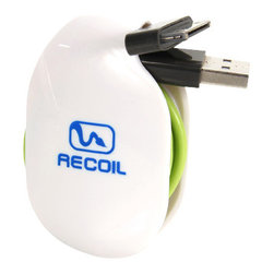 Recoil Manufacturing - Recoil Automatic Cord Winder (M) - Organizes and Stores Charging Cables - Charging Stations Will Never Have Tangled Cords Again!