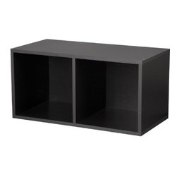 Foremost - Modular Large Divided Cube Black - Our modular PVC laminate veneer black large divided cube can be used vertically or horizontally. Creates an excellent base for stocking other cubes. Middle divider separates items from each other. Sturdy and stackable for maximum durability. Holds up to 200 pounds per assembled unit. Unlimited combination options so you can create exactly the system you need.
