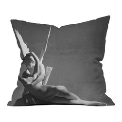 DENY Designs - DENY Designs Khristian A Howell Cupid Throw Pillow - Son of Aphrodite; God of desire, erotic love, attraction, and affection. There's more to Cupid than just a diapered baby with wings shooting arrows of love. Find out with the DENY Designs Khristian A Howell Cupid Throw Pillow, featuring a print of the Psyche Revived by Cupid's Kiss statue. Based out of Denver, CO, DENY works with artists and art communities from all over the world to create custom home decor accessories just for you. Be a part of the loving and passionate moment when Cupid awakens the lifeless Psyche with a tender kiss, and feel the love fill your life as well.Custom printed to orderFade resistantWoven polyester coverConcealed zipper6-color dye processKhristian A Howell collection