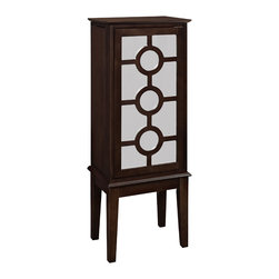 Powell - Powell Java and Mirror Jewelry Armoire - This modern style jewelry armoire provides ample safe storage space for all of your baubles. The top opens to reveal a mirror to help you adorn yourself.