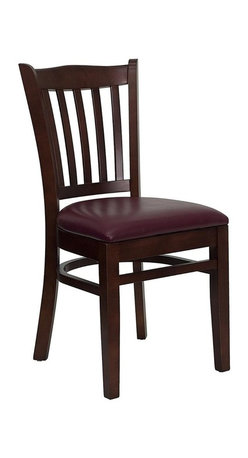 Flash Furniture - Hercules Crown Back Restaurant Chair w Foam P - Set of 2. Crown back with vertical slat design. 2.5 in. thick 1.4 density foam padded seat. Two curved support bars. Foot rest rung. Plastic floor glides. Warranty: 2 year limited. Made from solid European beech hardwood. Mortise and Tenon style construction. Metal wood screw reinforcements. Mahogany wooden frame finish. Minimal assembly required. Back: 14.75 in. W x 17.25 in. H. Seat: 16.75 in. W x 16.75 in. D. Seat Height: 19.25 in.. Overall: 20.75 in. W x 17.5 in. D x 34.5 in. H (15 lbs.)