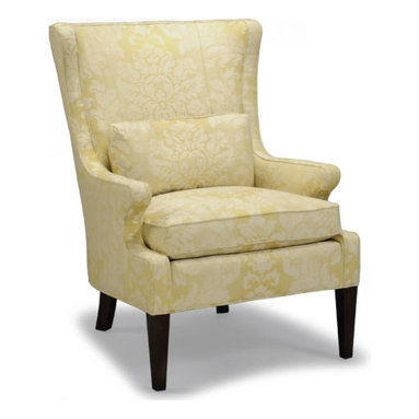 """Liz Ann's Interior Design Boutique - The Blell Chair has a relaxed take on the classic wing chair style.  It's graceful curves, tapered legs and luxurious Spring Down/Blend Down seat cushion make for a beautiful addition to any home.  A 13x24 kidney pillow is included for extra comfort.  Choose from a selection of quality fabrics and leathers or specify your own material to receive a custom quote.  Outside Dimensions: 31Wx38Dx42H.  Inside Dimensions: 23Wx19Dx22H.  Seat Height: 21"""".  Arm Height: 24""""."""