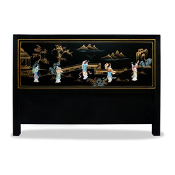 China Furniture and Arts - Hand-Painted Soap Stone Maiden Scenery Full Size Headboard - This beautiful full size headboard depicts a Chinese courtyard scene and is accented with soapstone Chinese maiden figures on a black matte finish. This piece is sure to create a spacious illusion in any contemporary bedroom. Also available in King, Queen and Twin sizes. Please call 1-888-786-6888 for details. Please see matching mirror Part No. MMI05MBG.