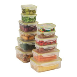 Snap-Tab 12 Piece Food Storage Set - Honey-Can-Do KCH-03827 12-Piece Locking Food Container Set, Clear. This 12-piece set of food storage containers is perfect for storing leftovers, make-ahead meals and on-the-go lunches. Each container is 100 percent air and water tight. The set includes two 240 ml containers, two 500 ml containers, two 400 ml containers, two .5 L containers, one 1.5L container, one 1.2L container, one 2L container, and a single one liter container. Dishwasher, microwave and freezer safe. When using in microwave, open closure clips on each side and open corner of lid to vent. Not for use in ovens, under broilers or on stove-top. BPA Free.
