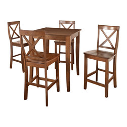 Crosley - 5-Piece Pub Dining Set with Cabriole Leg and X - Back Stools in Classic Cherry - 5-Piece Pub Dining Set Table with 4 Cabriole Leg X-Back Chairs. Enjoy casual dining at its best with a pub table and chairs set Whether you are looking for dining for four, or just a great addition to the basement or bar, this set is sure to add a touch of style to any area of your home. The rich, hand rubbed, multi-step black finish on both the table and coordinating chairs is perfect for enhancing your dining or entertainment room.